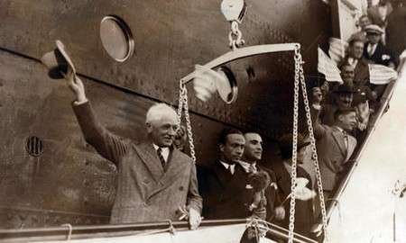 Jules Rimet arrive at Montevideo in Uruguay - 1930