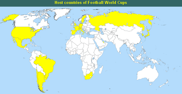 Host countries of Foorball World Cups